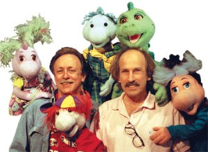 David and Freddy with a cast of puppets